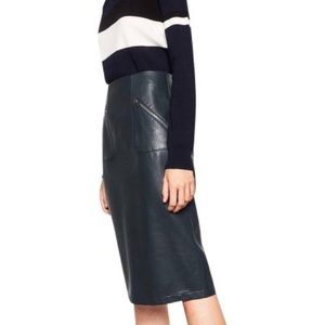Green Zara Vegan Leather Pencil Skirt